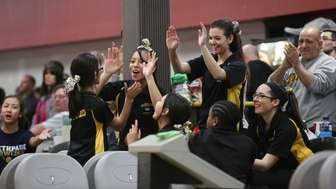 Sewanhaka celebrates during the Nassau County High School