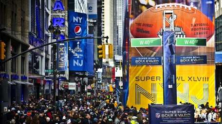 This photo shows the crowd on Super Bowl
