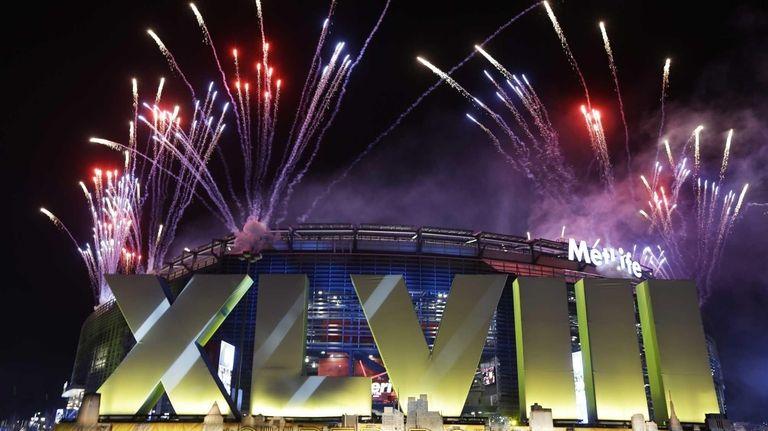 Fireworks burst over MetLife Stadium before Super Bowl