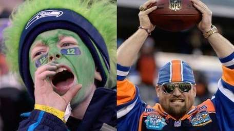 Left, a young Seattle Seahawks fan cheers before