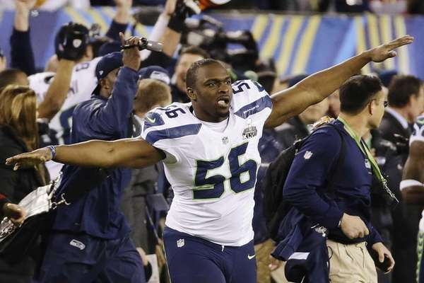Seattle Seahawks' Cliff Avril celebrates after Super Bowl