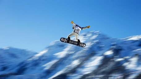 Shaun White gets some air on the slopestyle