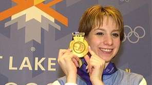Sarah Hughes displays her women's figure skating gold