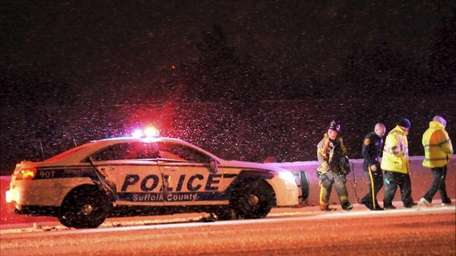 A Suffolk County police officer was hurt when