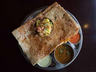The chennai rava masala (semolina) dosai platter is