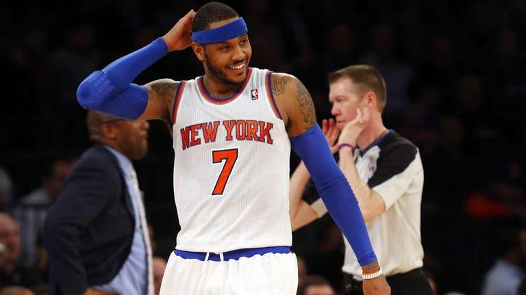 Carmelo Anthony reacts during a game against the