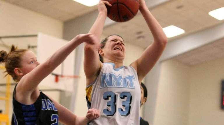 NYIT freshman Shannon Duer goes up to score,