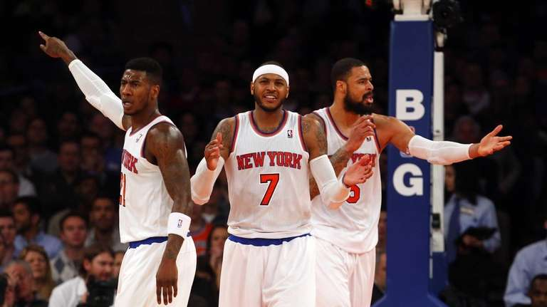 Carmelo Anthony, Iman Shumpert and Tyson Chandler react