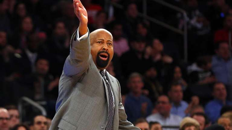Knicks coach Mike Woodson reacts during a game