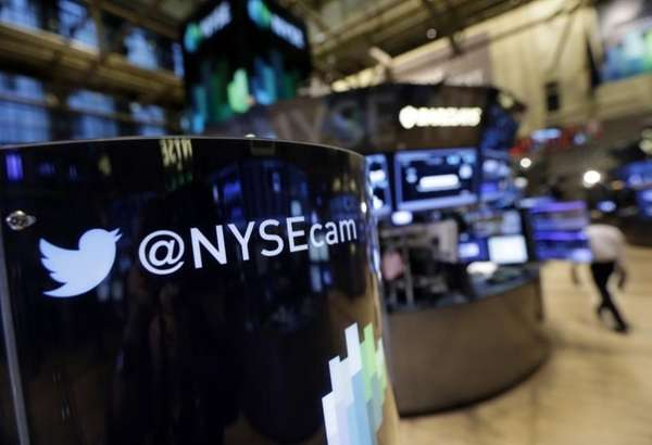 A Twitter logo on the New York Stock