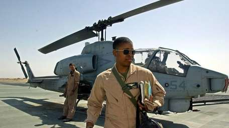 First Lt. Vernice Armour heads back to the