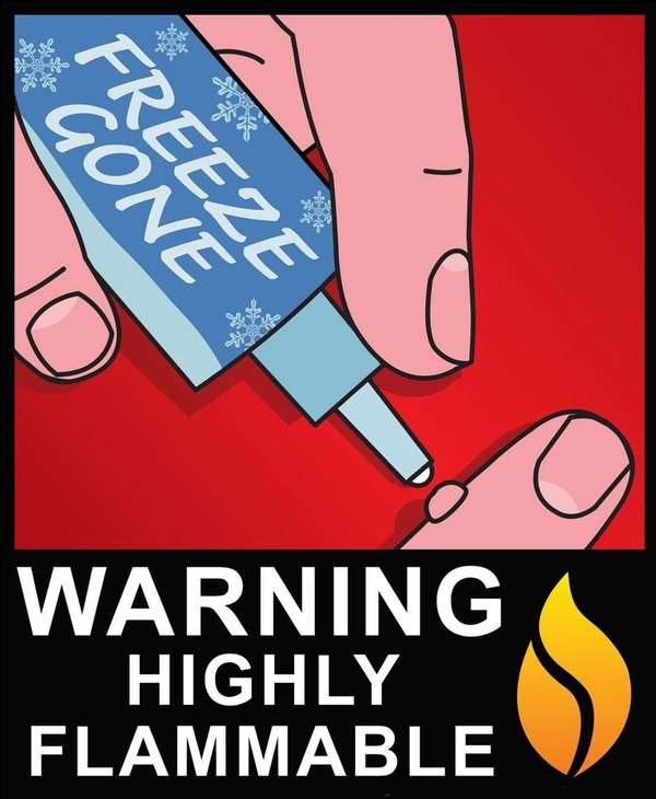 Cryogenic wart-removal products are flammable and should be