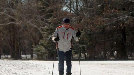 Fred Kalhorn, 79, of East Islip, skis across