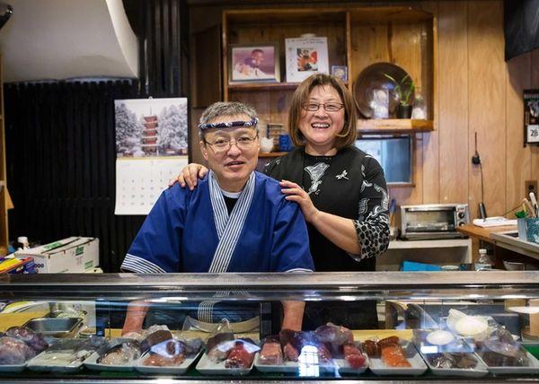 Sushi chef Kikumatsu and general manager Kyoko Mitsumori