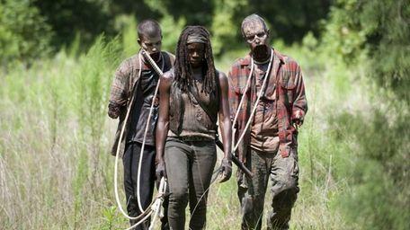 Walkers and Michonne (Danai Gurira) in