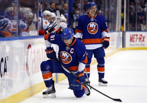 John Tavares and Lubomir Visnovsky of the Islanders