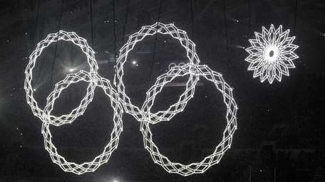 One of the rings forming the Olympic Rings