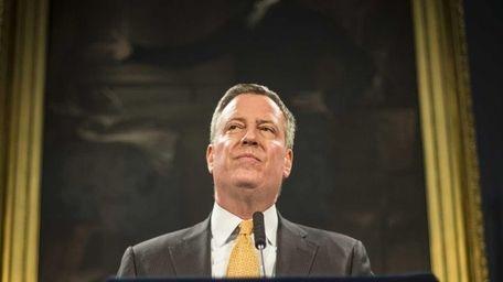 New York Mayor Bill de Blasio on Feb.