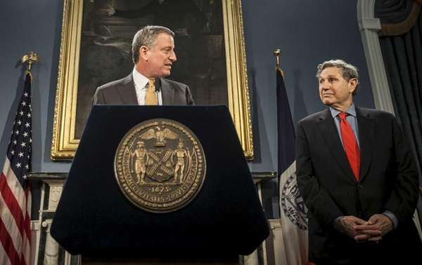 New York Mayor Bill de Blasio accounces Carl