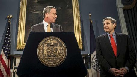 New York Mayor Bill de Blasio accounces Carl