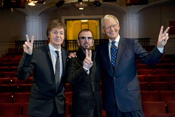 Surviving Beatles Paul McCartney, left and Ringo Starr,