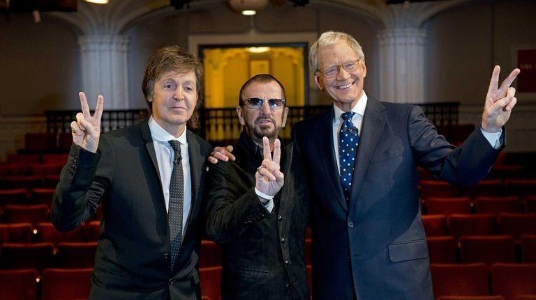 Surviving Beatles Paul McCartney, left and Ringo Starr,