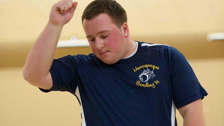 Massapequa's Mike Votinelli reacts after bowling a split