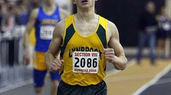 Lynbrook's Luke Germanakos win the boys 300m dash
