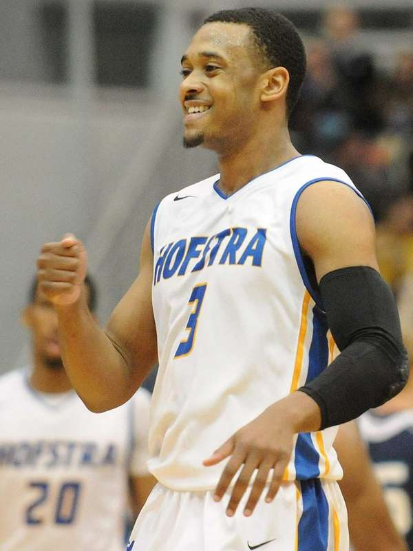 Hofstra's Zeke Upshaw reacts after the Pride take