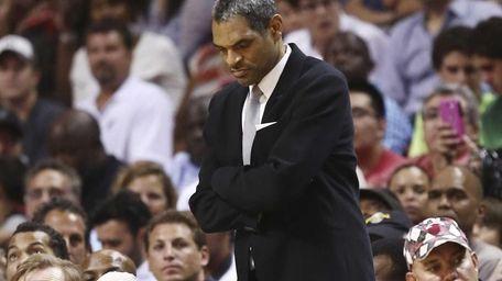 Detroit Pistons head coach Maurice Cheeks looks on