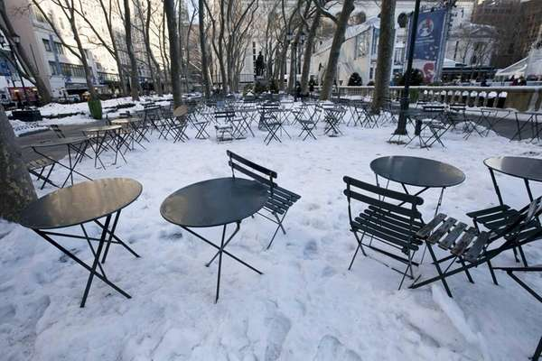 Empty chairs in Bryant Park in midtown Manhattan
