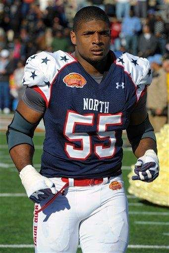 North outside linebacker Michael Sam (55) of Missouri