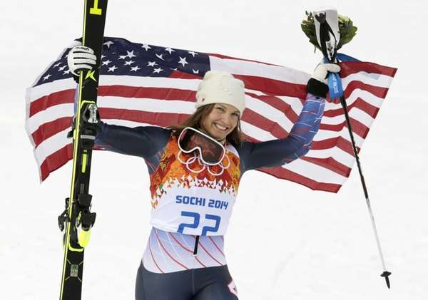 Women's supercombined bronze medalist United States' Julia Mancuso