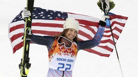 Women's supercombined bronze medalist United States' Julia Mancuso