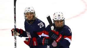 Amanda Kessel #28 of the United States celebrates