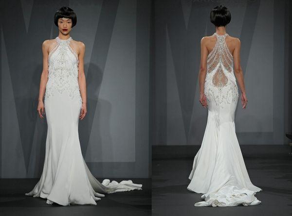 Mark Zunino for Kleinfeld chandelier crystal beaded halter