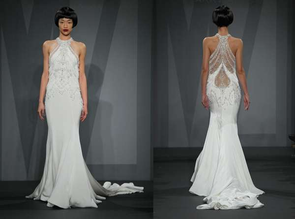 Mark Zunino for Kleinfeld chandelier crystal beaded halter