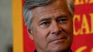 Senate Majority Leader Dean Skelos during a news