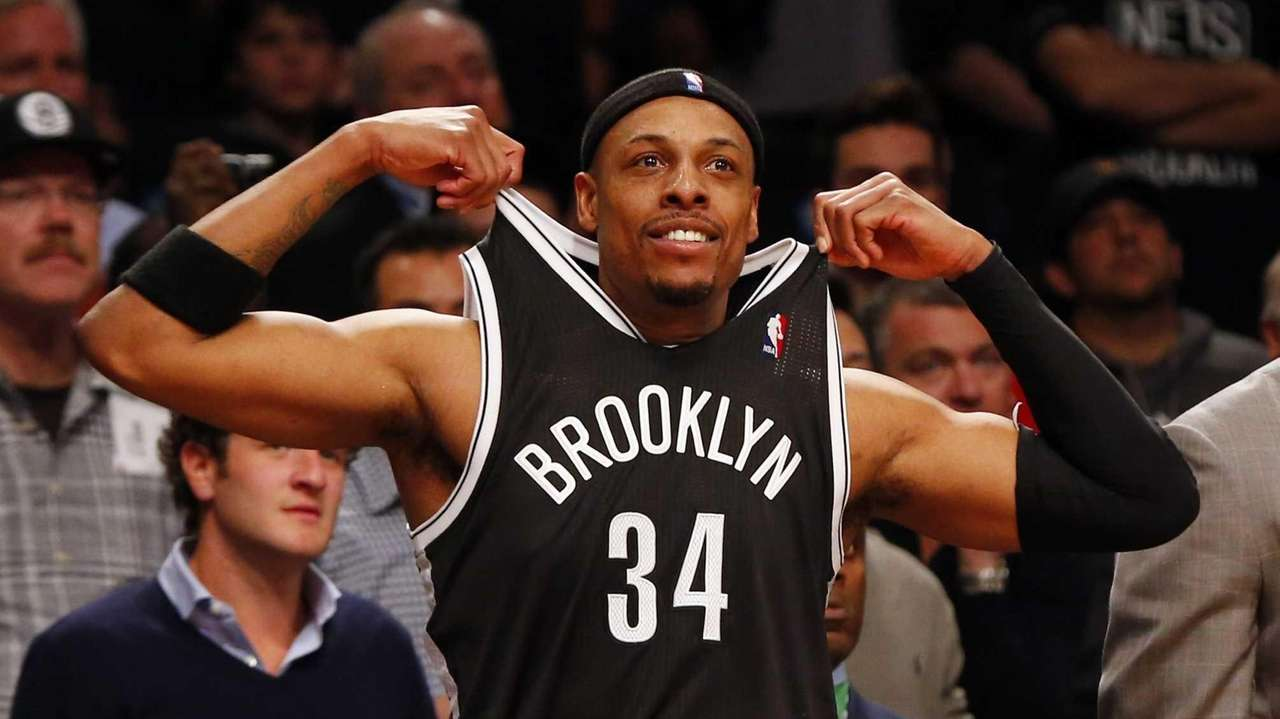 Paul Pierce of the Brooklyn Nets celebrates from