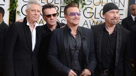 U2 -- from left, Adam Clayton, Larry Mullen,