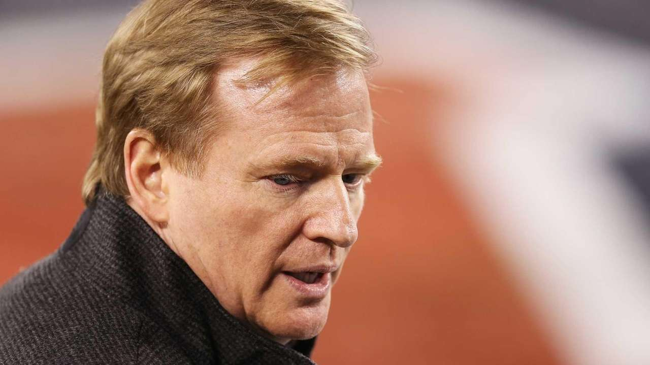 NFL commissioner Roger Goodell is shown before Super