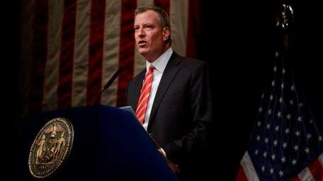 Mayor Bill de Blasio delivers his first State