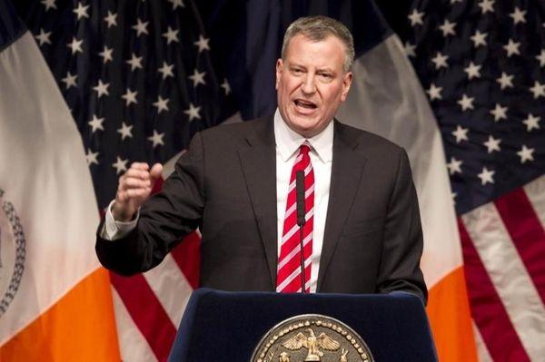 New York Mayor Bill de Blasio delivers his