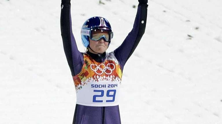 Germany's Carina Vogt celebrates after her first attempt