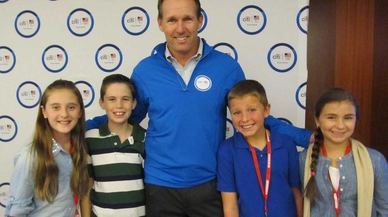 Olympian Dan Jansen with Kidsday reporters Amber Fantaci,