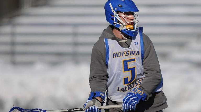 Hofstra's Sam Llinares practices with the men's lacrosse