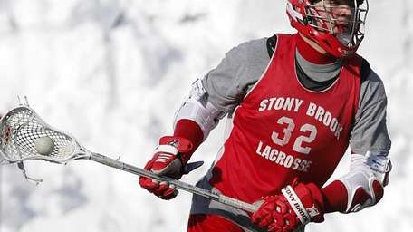 Stony Brook midfielder Mike Andreassi practices at LaValle