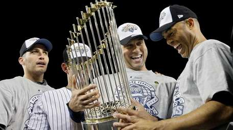 From left, Andy Pettitte, Jorge Posada, Derek Jeter