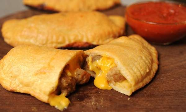 The cheeseburger calzone recipe can be found in