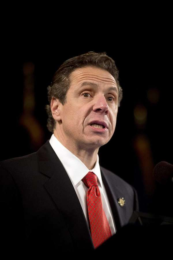 New York State Governor Andrew Cuomo gives the